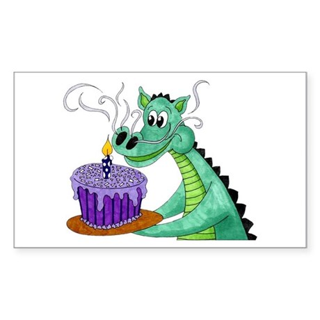 Birthday Dragon Rectangle Sticker