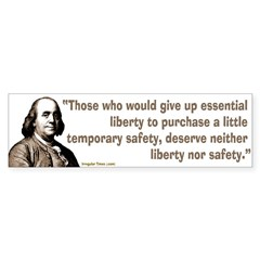 Ben Franklin Liberty Quote bumper sticker
