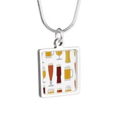 Beer Lover Print Silver Square Necklace