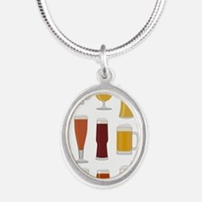 Beer Lover Print Silver Oval Necklace