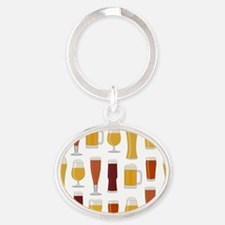 Beer Lover Print Oval Keychain