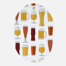 Beer Lover Print Oval Ornament