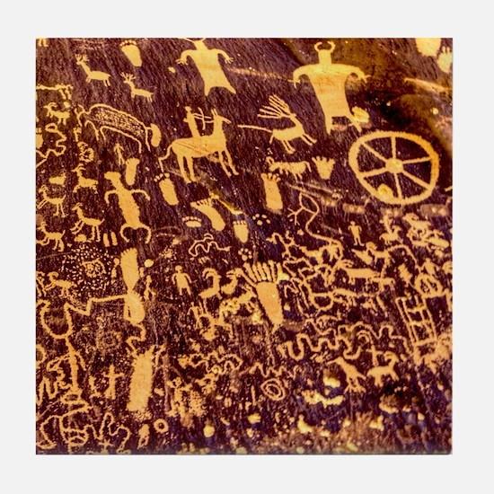 Newspaper Rock Petroglyph Ancient Art Tile Coaster