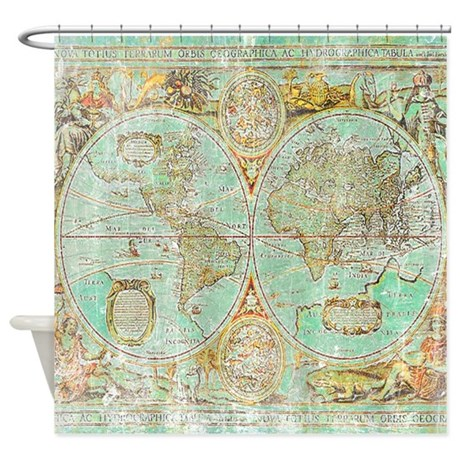 Old world map shower curtain by scottyshirts for Old world curtains and drapes