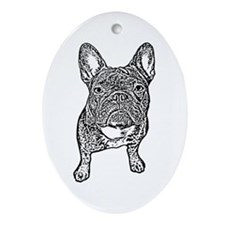 BIG FRENCHIE SKETCH Oval Ornament