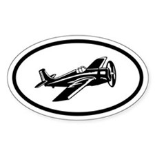 Flying Plane Oval Bumper Stickers