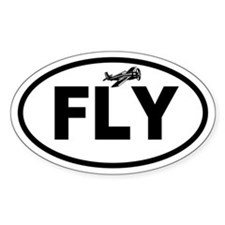 Flying Plane Oval Decal