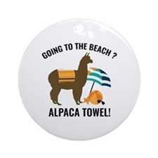 Alpaca Towel Ornament (Round)