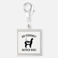 Alpaca Bag! Silver Square Charm