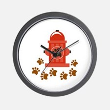 HYDRANT AND PAW PRINTS Wall Clock