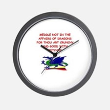 dragon humor on gifts and t-s Wall Clock