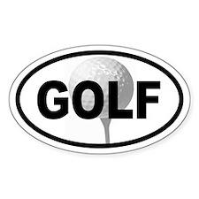 Golf Ball on Tee Oval Decal