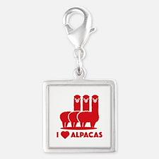 I Love Alpacas Silver Square Charm