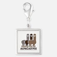 Prepare For The Alpacalypse Silver Square Charm