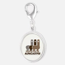 Prepare For The Alpacalypse Silver Oval Charm