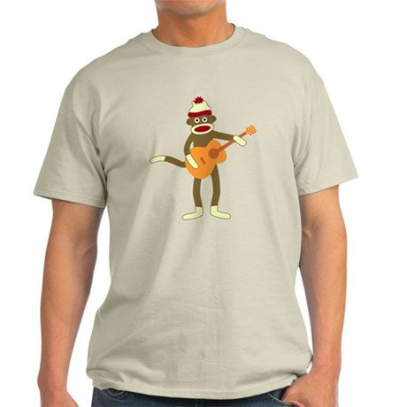 Sock Monkey Acoustic Guitar Player Light T-Shirt