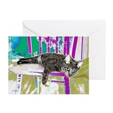 Tabby Cat in Purple Chair Greeting Cards-Pk of 20