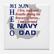 Navy Dad Tile Coaster