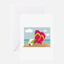 Flip Flops In Sand Greeting Cards