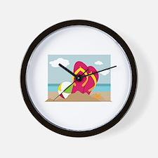 Flip Flops In Sand Wall Clock
