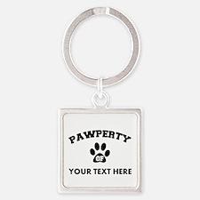 Personalized Dog Pawperty Square Keychain