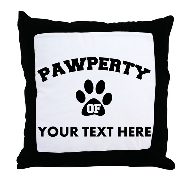 Personalized Dog Pawperty Throw Pillow by cafepets