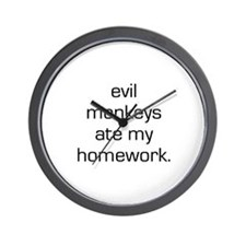 Evil Monkeys Ate My Homework Wall Clock