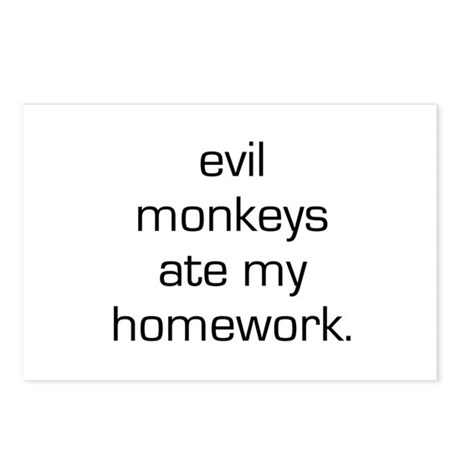 Evil Monkeys Ate My Homework Postcards (Package of