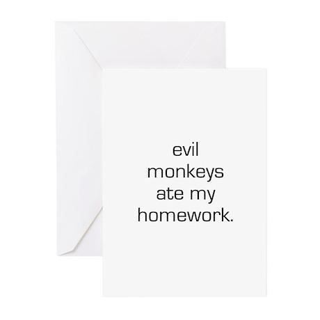 Evil Monkeys Ate My Homework Greeting Cards (Pk of