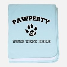 Personalized Cat Pawperty baby blanket