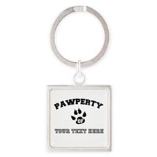 Personalized Cat Pawperty Square Keychain
