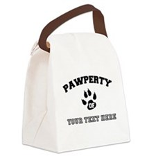 Personalized Cat Pawperty Canvas Lunch Bag
