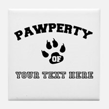 Personalized Cat Pawperty Tile Coaster