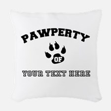 Personalized Cat Pawperty Woven Throw Pillow