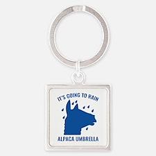 Alpaca Umbrella Square Keychain