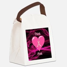Breast Cancer Awareness Ribbon Canvas Lunch Bag