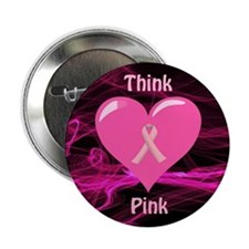 """Breast Cancer Awareness Ribbon 2.25"""" Button"""