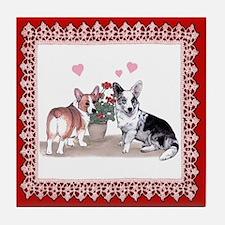 Corgi Valentine  Tile Coaster