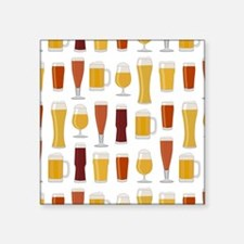 "Beer Lover Print Square Sticker 3"" x 3"""