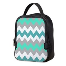 Gray and Teal Chevrons Neoprene Lunch Bag