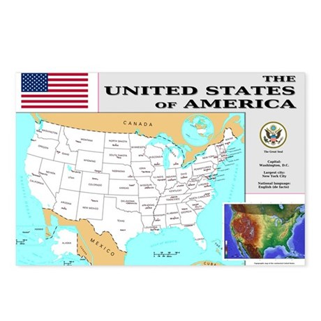 USA Map Postcards (Package of 8)