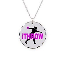 Pink Discus Necklace Circle Charm