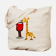 Giraffe Drinking Wine Tote Bag