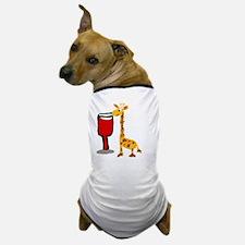 Giraffe Drinking Wine Dog T-Shirt