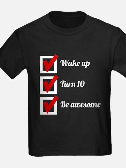 Awesome 10th Birthday Checklist T-Shirt