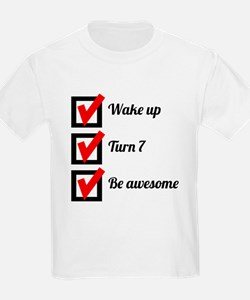 Awesome 7th Birthday Checklist T-Shirt