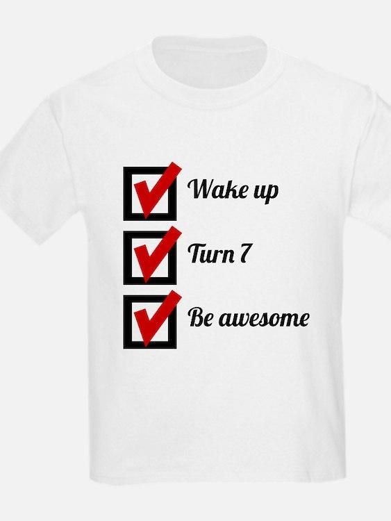 Awesome 7th Birthday Checklist T-Shirt
