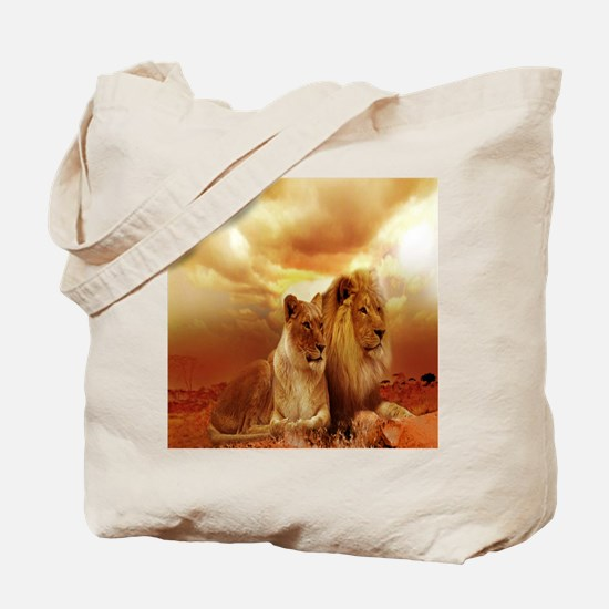 Africa Lion and Lioness Tote Bag