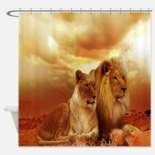 Africa Lion and Lioness Shower Curtain