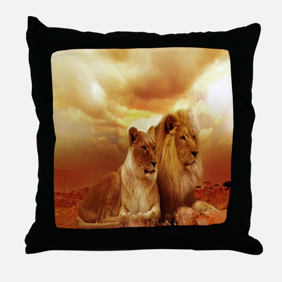 Africa Lion and Lioness Throw Pillow